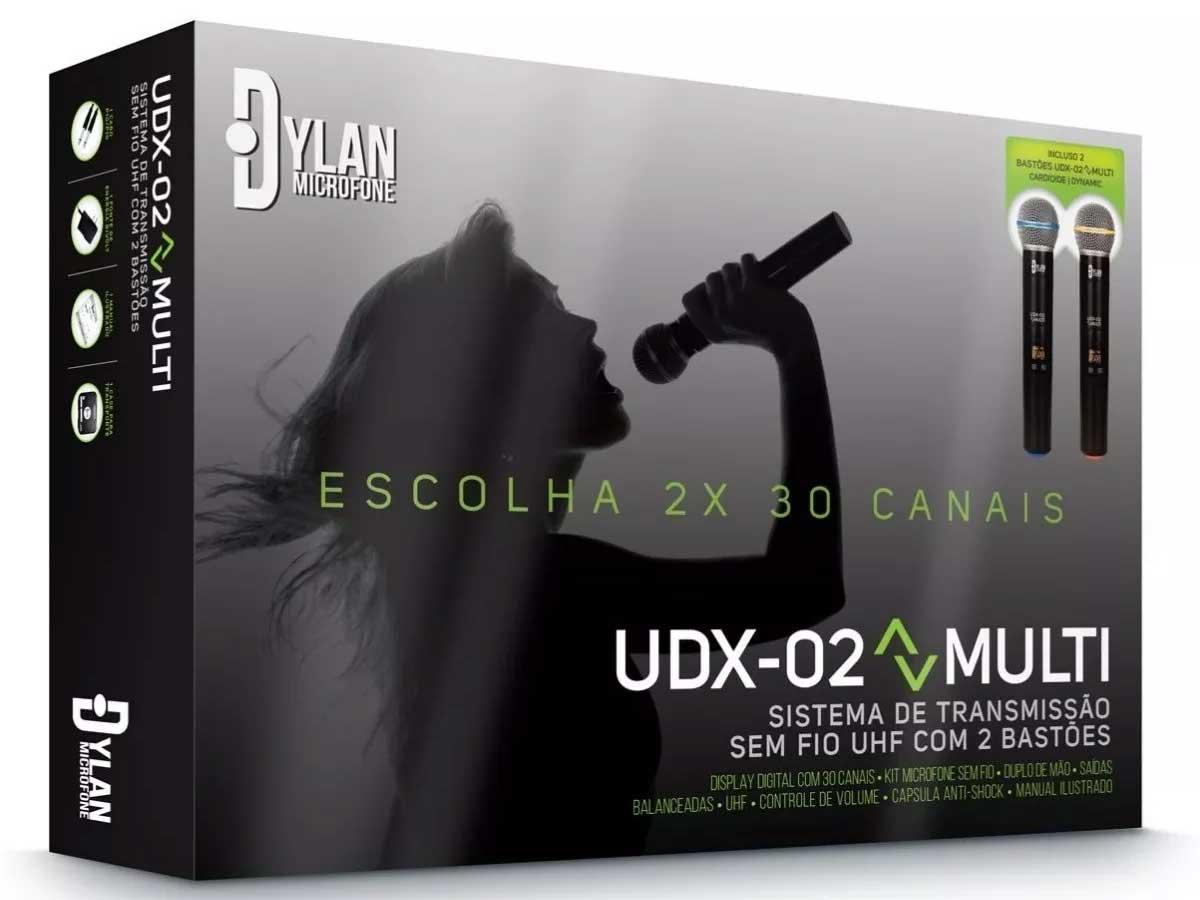 Microfone Sem Fio Duplo UHF - Dylan UDX-02 Multi