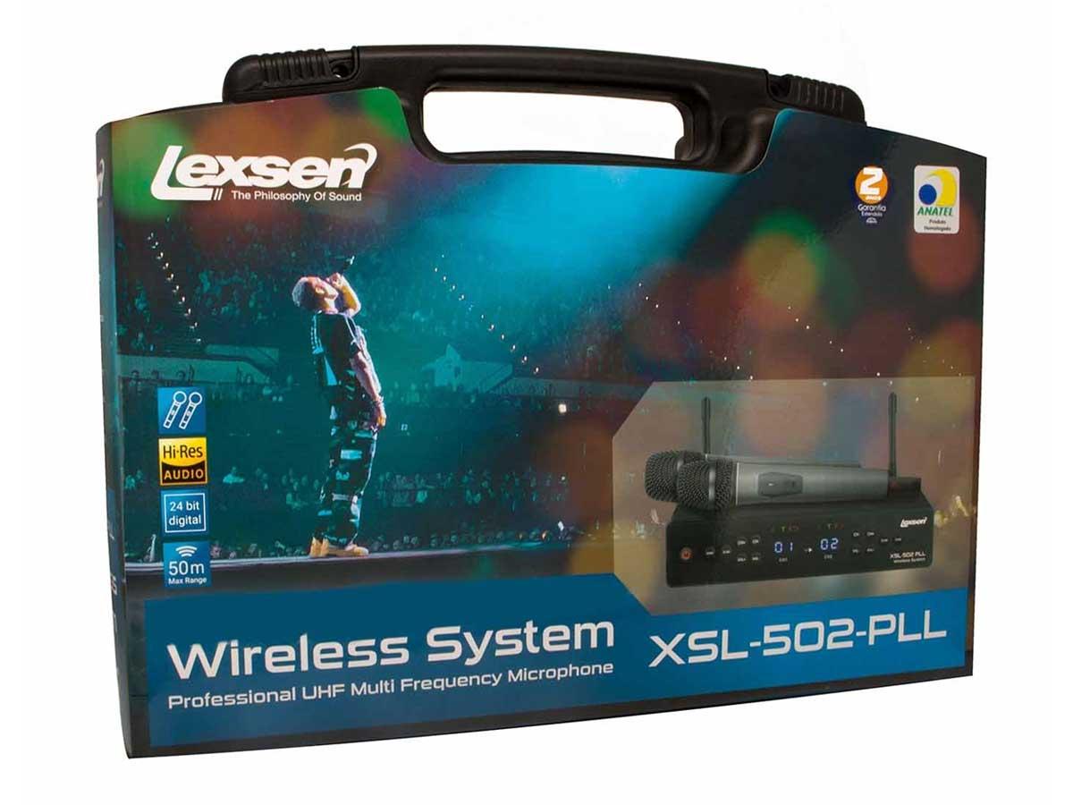 Microfone sem Fio Duplo UHF Lexsen XSL 502 PLL