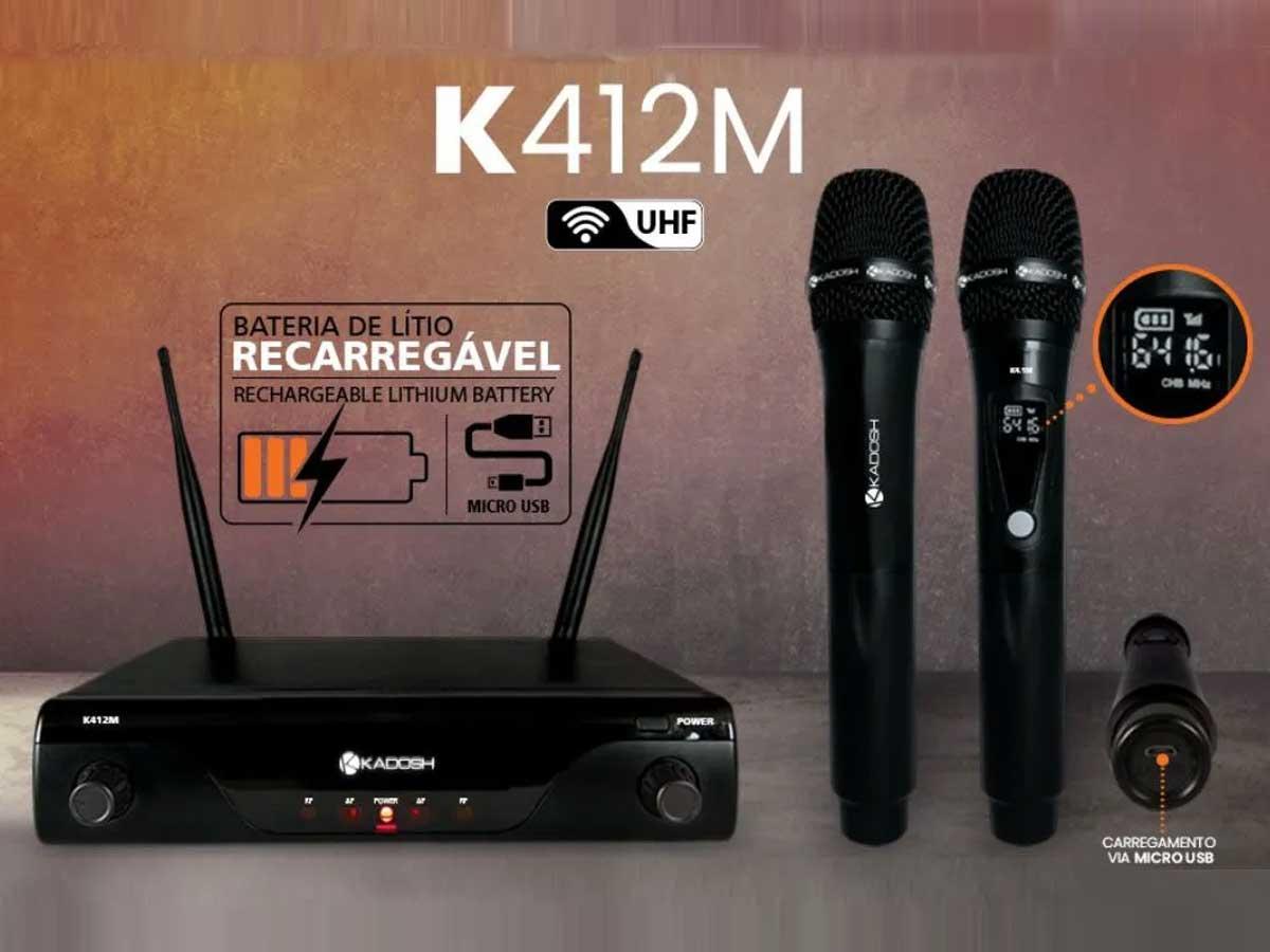 Microfone Sem Fio Kadosh Duplo K412M com Bateria Recarregável