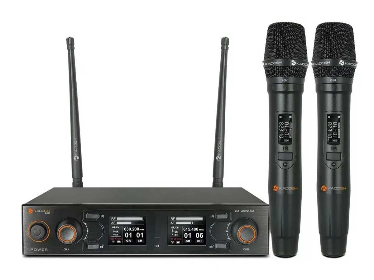 Microfone Sem Fio Kadosh Duplo K502M com Bateria Recarregável