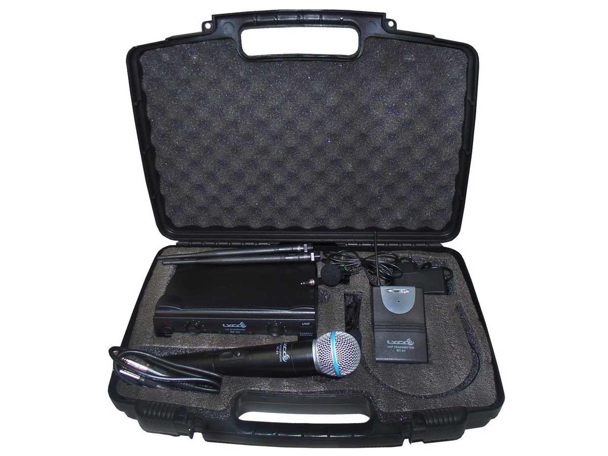 Microfone Sem Fio UHF Duplo Mão, Headset, Lapela e Instrumento Lyco UH-02MHLI
