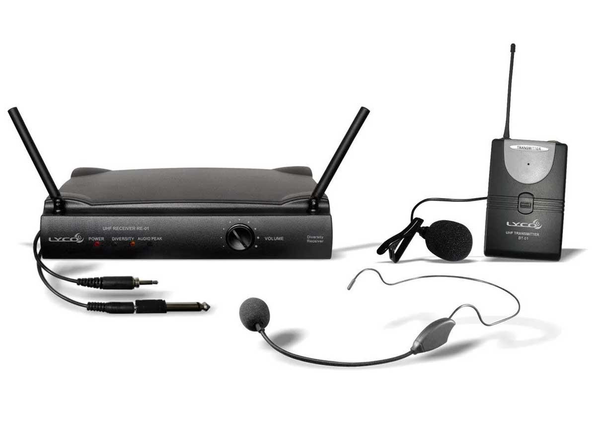 Microfone Sem Fio UHF Headset, Lapela ou Instrumento Lyco UH-01HLI