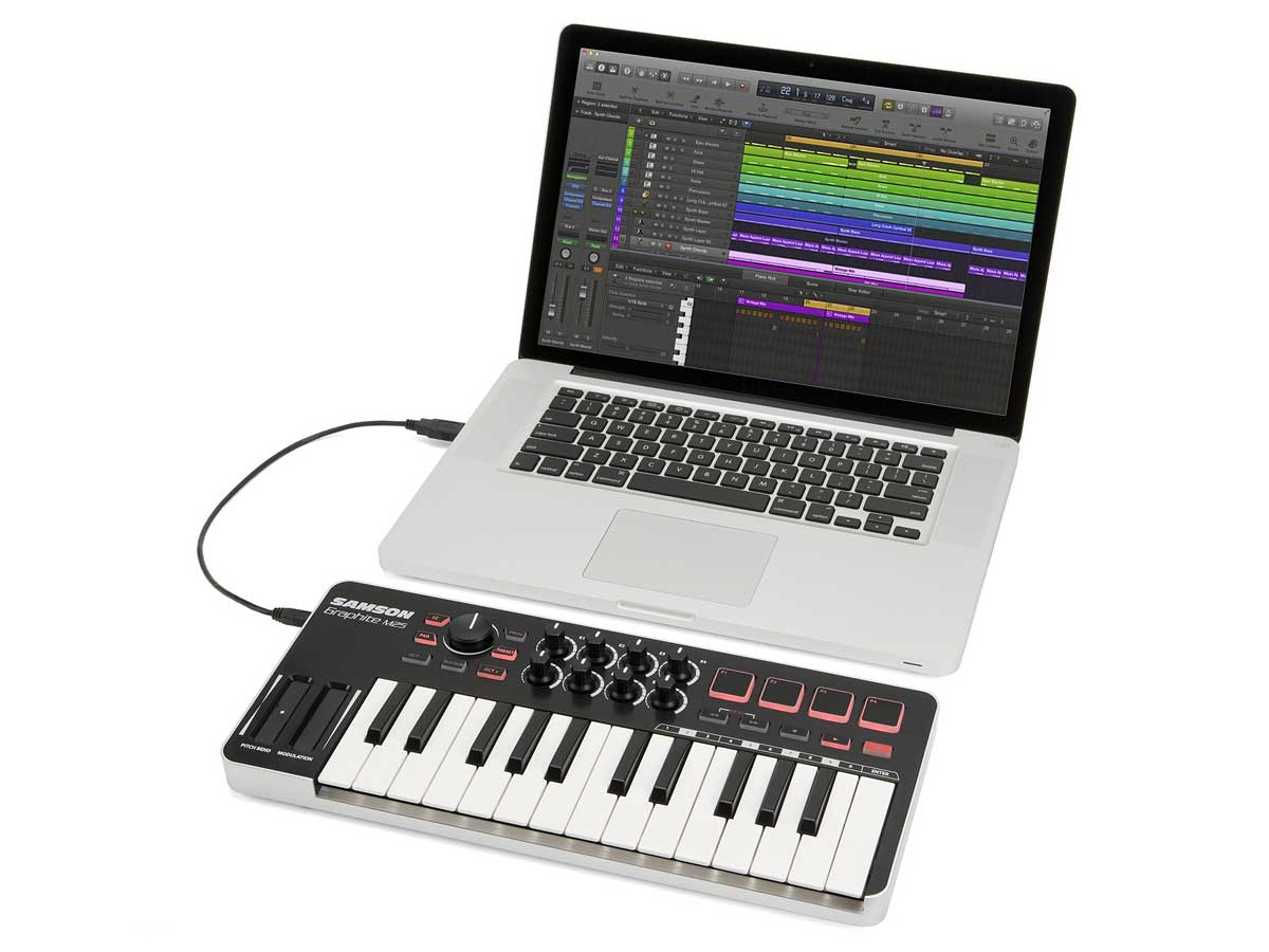 Teclado controlador MIDI USB Samson Graphite M25