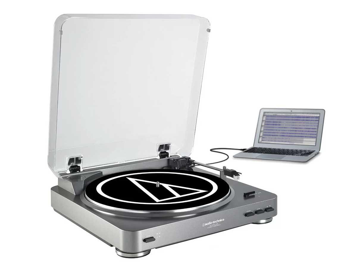 Toca Discos com Sistema de Gravação de LP para Digital Audio Technica AT-LP60-USB
