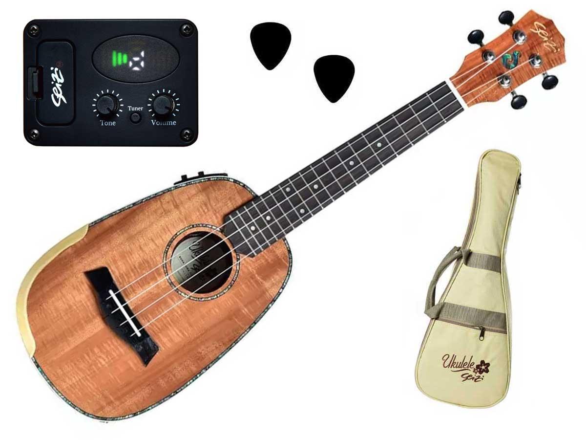 Ukulele Seizi Bora Bora Plus Pineapple Concert Elétrico Com Bag