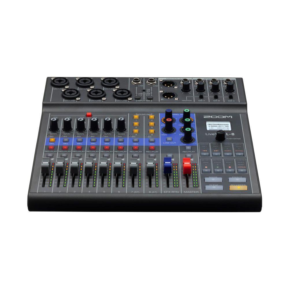 Zoom LiveTrak L-8 - Mixer Digital Interface USB 8 canais Podcast