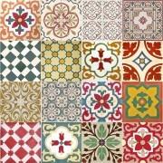 Adesivo para Azulejo Ladrilho Hidráulico Mosaico Cores 15x15cm 16 peças Cosi Dimora