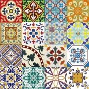 Adesivo para Azulejo Português Mosaico Amarante 15x15cm 16 peças Cosi Dimora