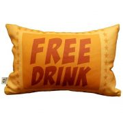 Capa de Almofada Cinema Ticket Free Drink 25x35cm Cosi Dimora