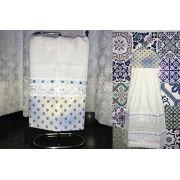 Jogo de Cozinha Pano de Prato e Bate Mão Florzinhas Azul e Branco Cosi Dimora
