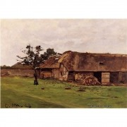 Pôster Decorativo A4 Farm Near Honfleur - Claude Monet Cosi Dimora