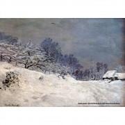 Pôster Decorativo A4 The Road in Front of Saint Simeon Farm in Winter - Claude Monet Cosi Dimora