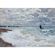 Pôster Decorativo A4 The Sea at Saint Adresse - Claude Monet Cosi Dimora