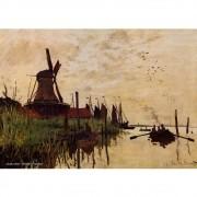 Pôster Decorativo A4 Windmill at Zaandam - Claude Monet Cosi Dimora