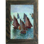 Quadro Decorativo A4 Fishing Boats Calm Sea - Claude Monet Cosi Dimora