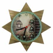 Relógio de Parede Estrela Floral Verde 35cm - Ateliê Bella Vista