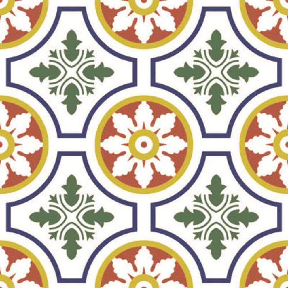 Adesivo para Azulejo Retrô Sarau Vinil 15x15cm 16 peças Cosi Dimora