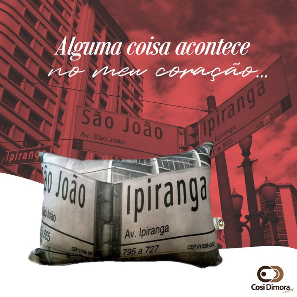 Almofada Placa Ipiranga x São João 25x35cm Cosi Dimora