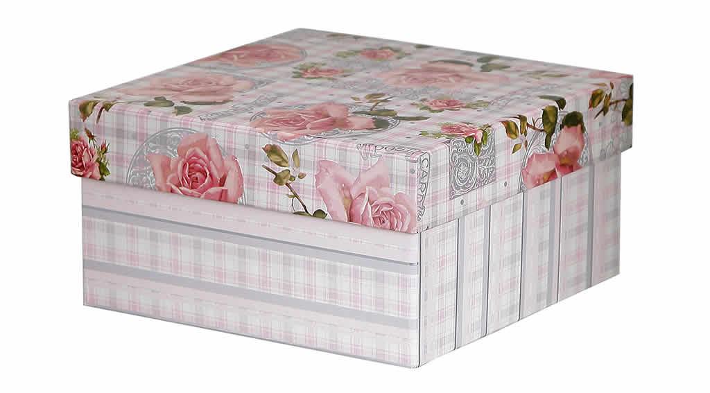 Caixa Organizadora Floral Rosa Xadrez