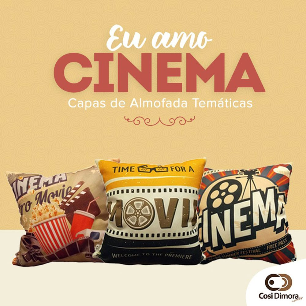 Capa de Almofada Cinema Movie 40x40cm Cosi Dimora