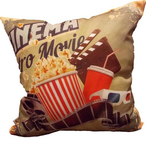 Capa de Almofada Cinema Retro Movie 40x40cm Cosi Dimora