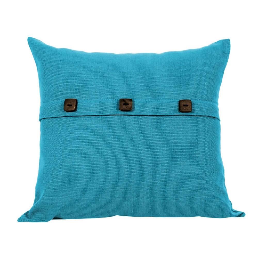 Capa para Almofada Botão Lounge Azul Artesanal Teares