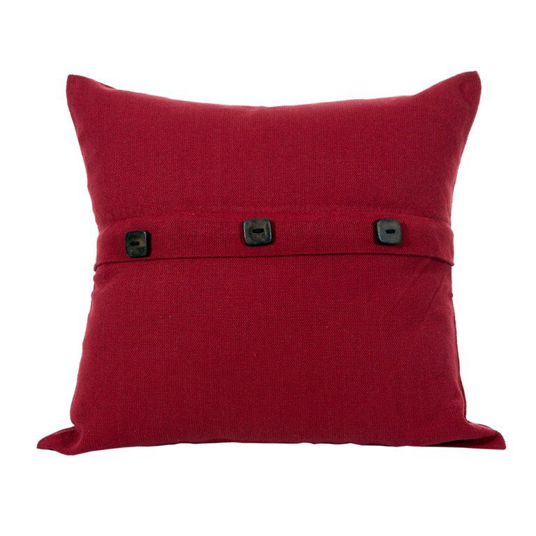 Capa para Almofada Botão Lounge Vermelha Lacre Artesanal Teares