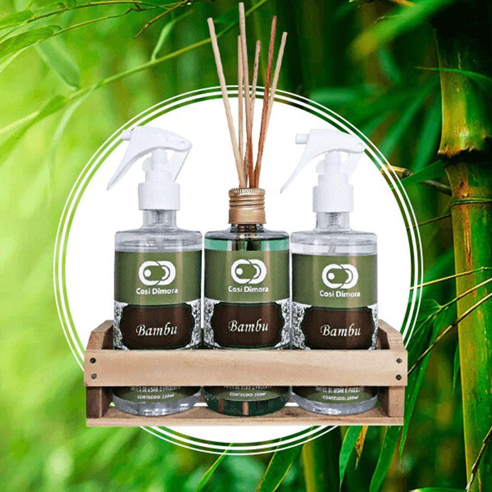 Kit Aromático Bambu Essência Importada Cosi Dimora 3 peças + Brinde