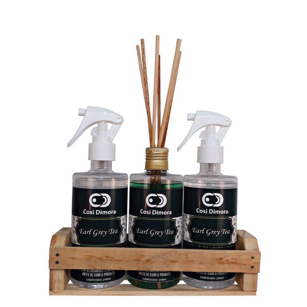 Kit Aromático Earl Grey Tea Essência Importada Cosi Dimora 3 peças + Brinde