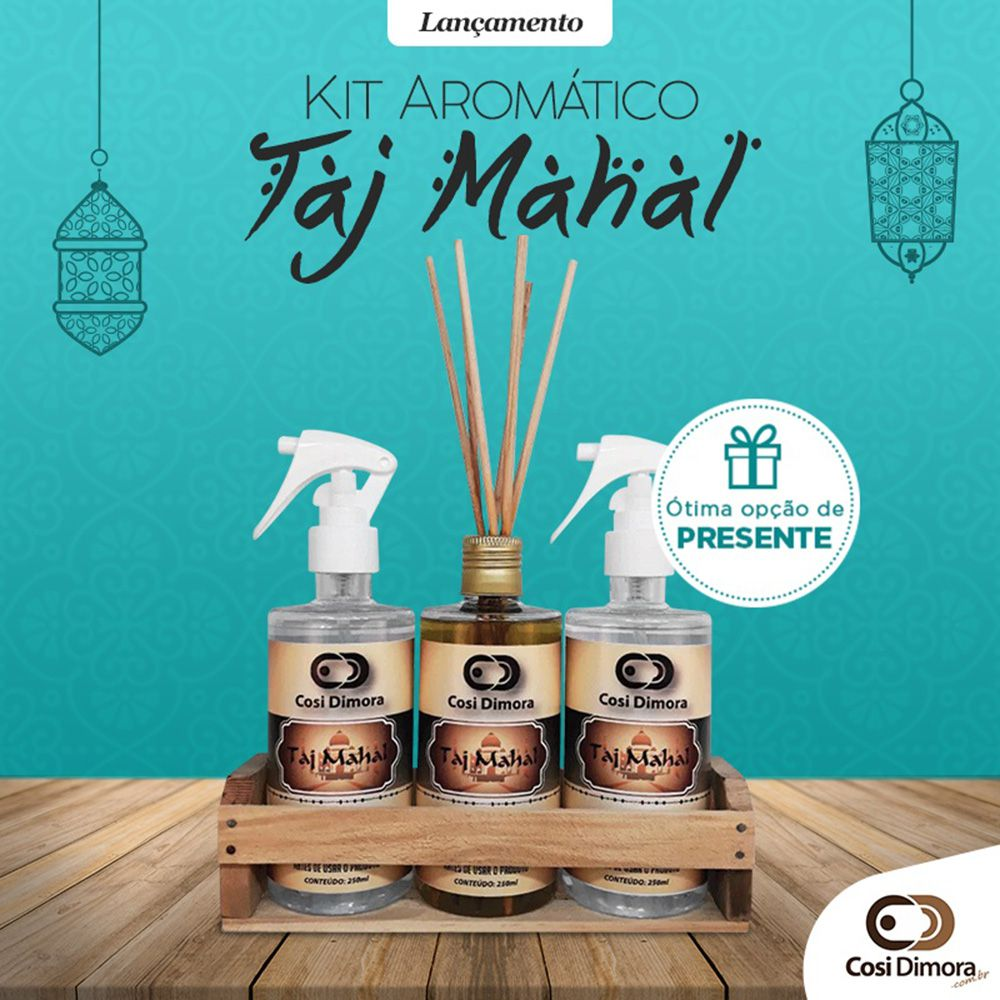 Kit Aromático Taj Mahal Essência Importada Cosi Dimora 3 peças + Brinde