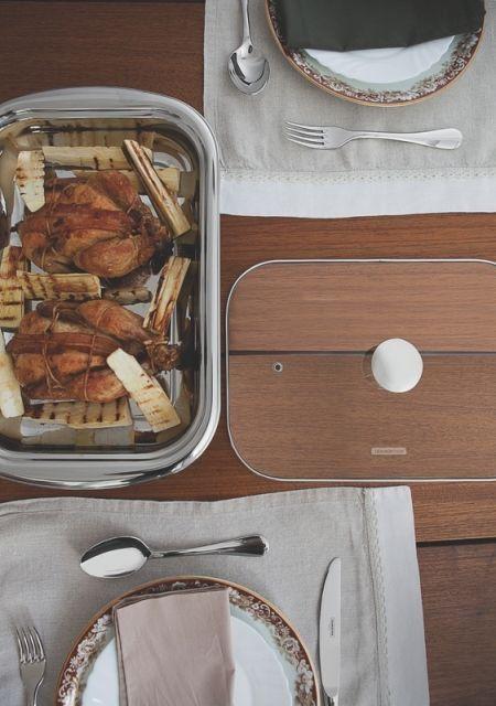 Kit para assar e servir Tramontina aço inox com tampa de vidro 3 peças