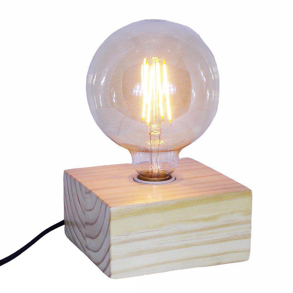 Luminária de Mesa Bloco Carvalho Pinho Natural Cosi Dimora