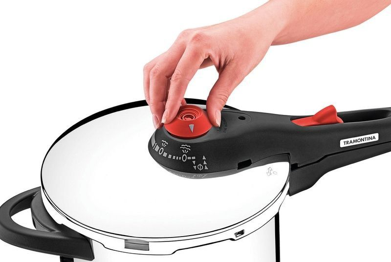 Panela de pressão Tramontina aço inox fundo triplo 6 litros Ø22cm + cozi-vapore
