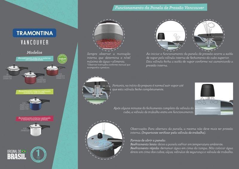Panela de pressão Tramontina alumínio antiaderente 4,5 litros 20cm