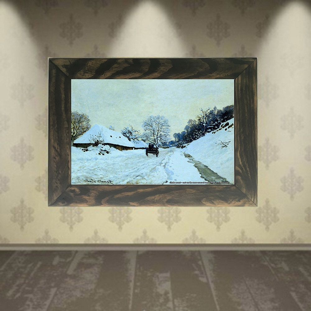 Quadro Decorativo A4 Cart on the Snow Covered Road With Saint Simeon Farm - Claude Monet Cosi Dimora