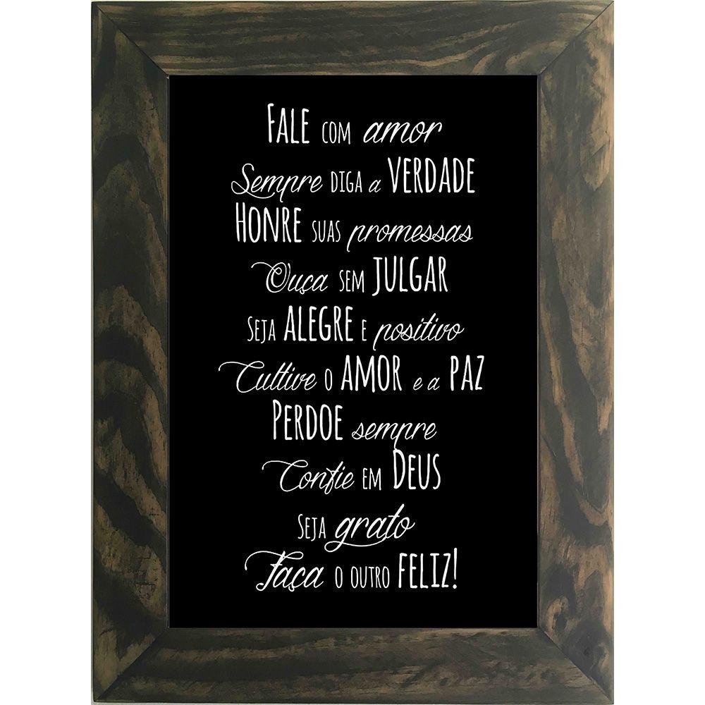 Quadro Decorativo A4 Preto Fale com Amor Cosi Dimora