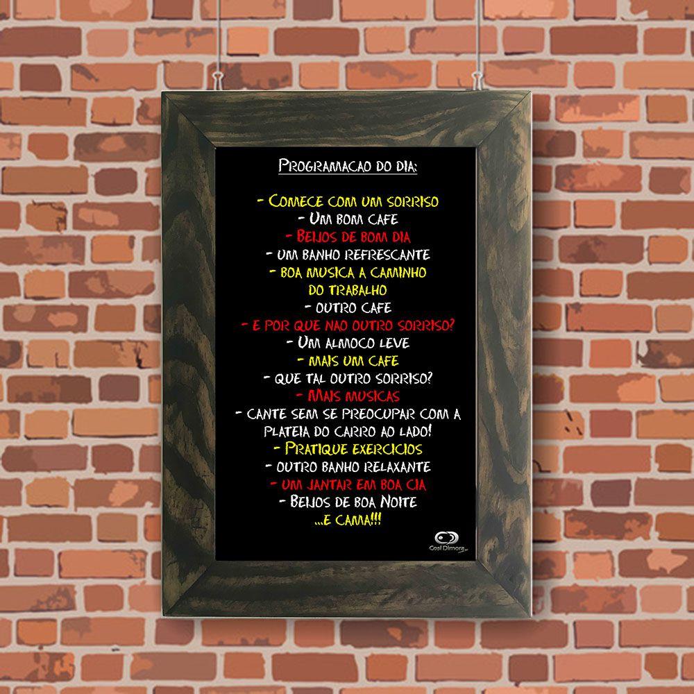 Quadro Decorativo A4 Quadro Negro Programação do Dia Cosi Dimora