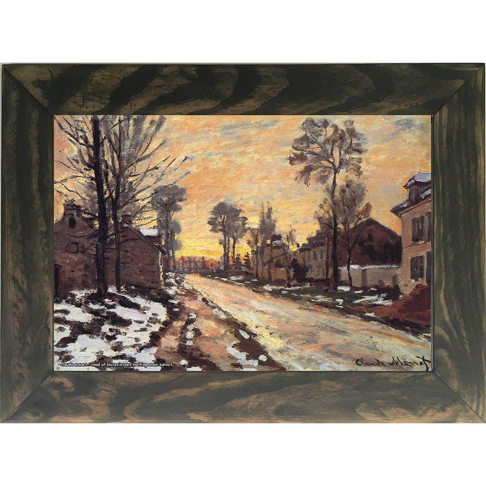 Quadro Decorativo A4 Road at Louveciennes Melting Snow Sunset - Claude Monet Cosi Dimora