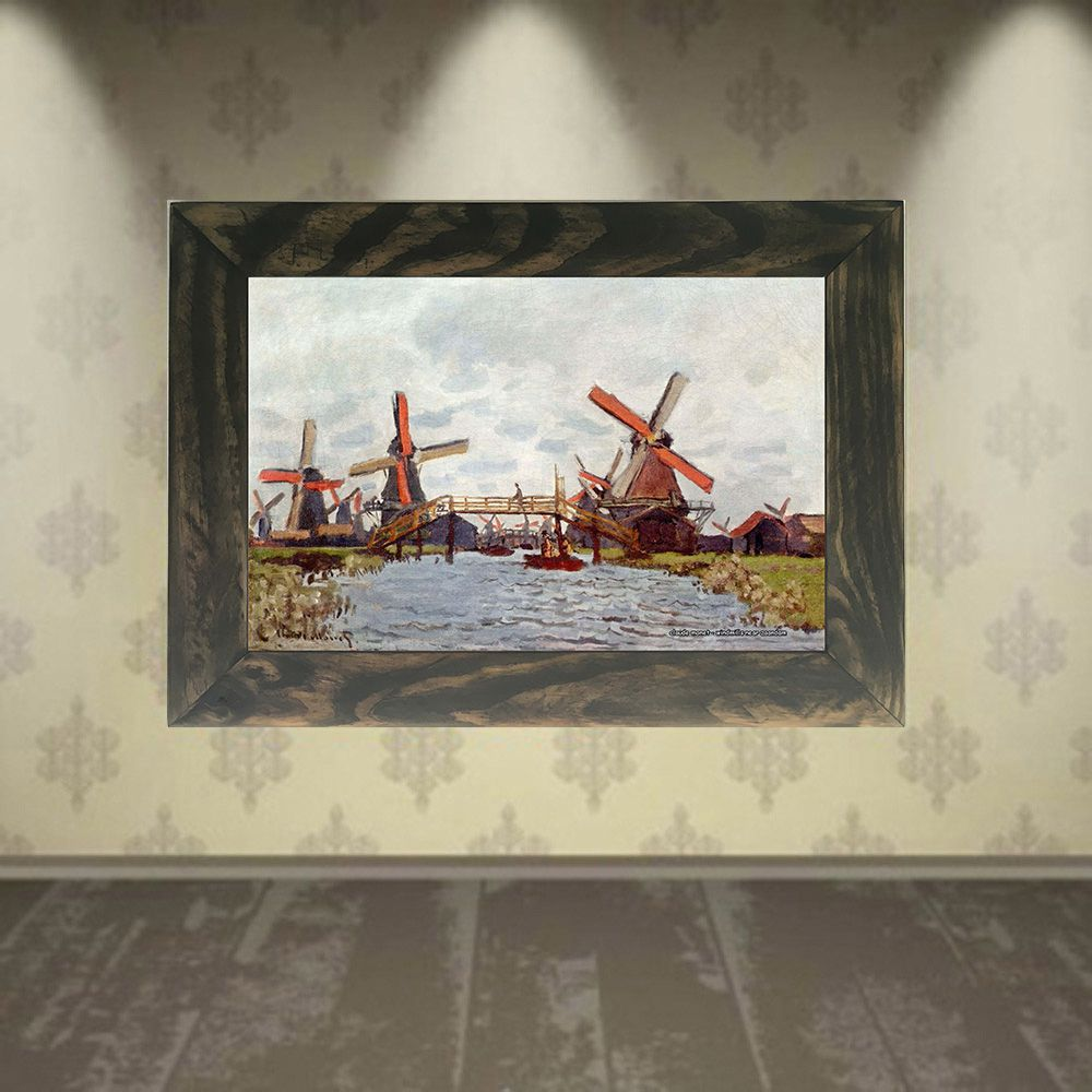 Quadro Decorativo A4 Windmills Near Zaandam - Claude Monet Cosi Dimora