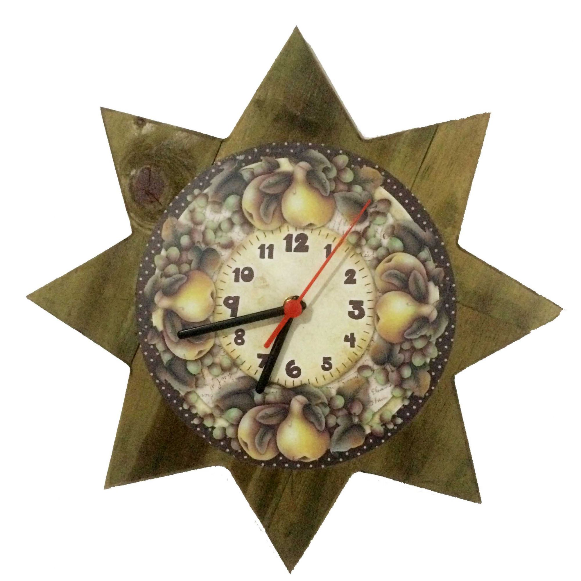 Relógio de Parede Estrela Frutas 35cm - Ateliê Bella Vista