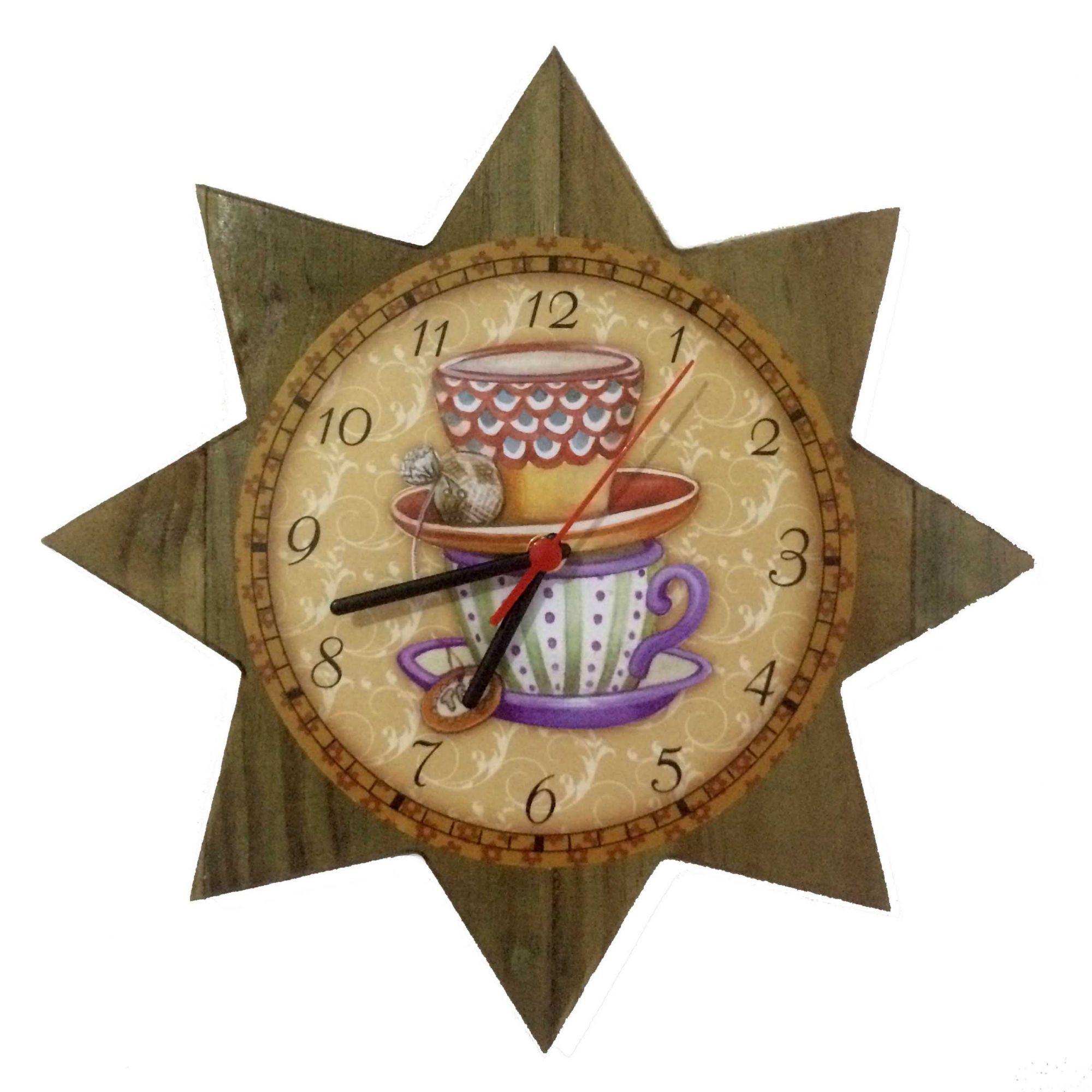 Relógio de Parede Estrela Xícaras de Café 35cm - Ateliê Bella Vista
