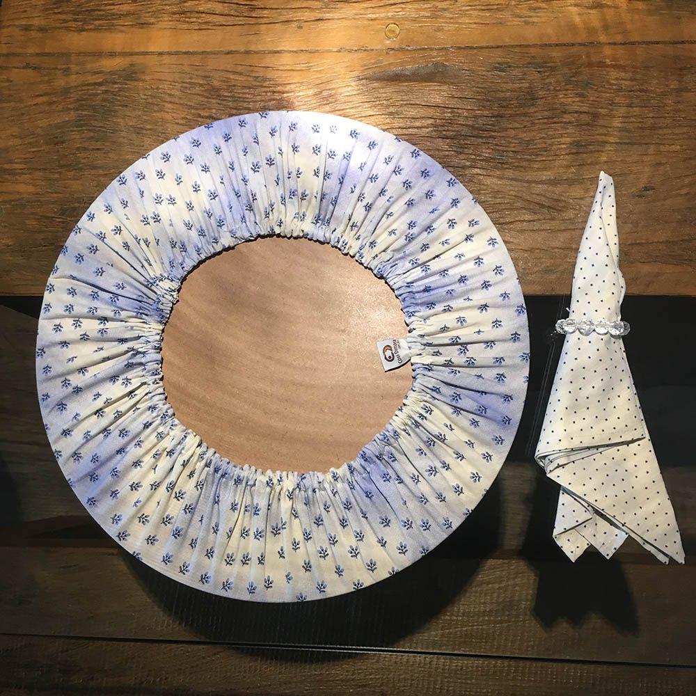 Sousplat Redondo 35cm com Guardanapo 45x45cm e Porta Guardanapo Azul e Branco