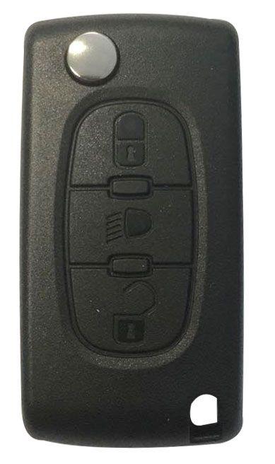 Chave Canivete Citroen Completa Farol 3 Botões Freq. 433MHZ - 60327