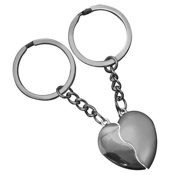 Chaveiro Romântico Duplo Coração Encaixe - 70326