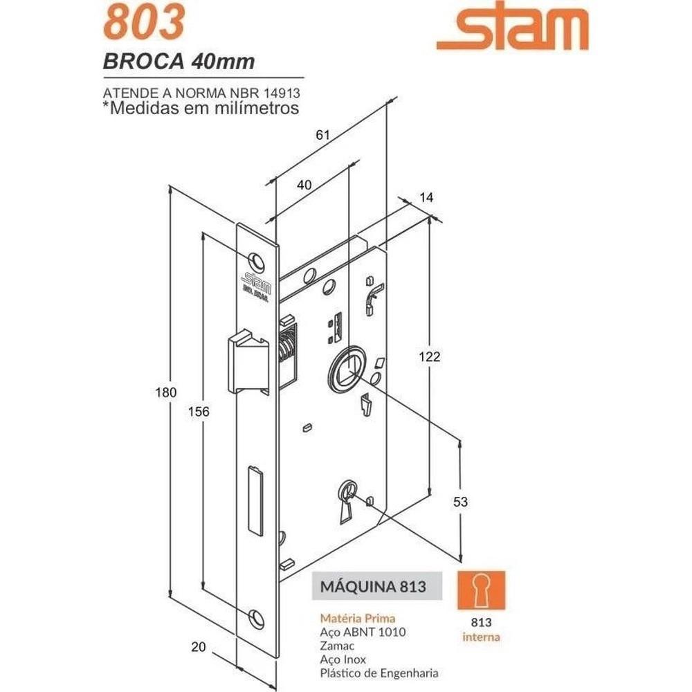 Fechadura Stam 813/03 Interno Caixa 40 Esp. Inox - 44813