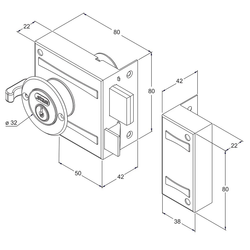 Fechadura Stam Sobrepor 701/80 80mm  - 43701