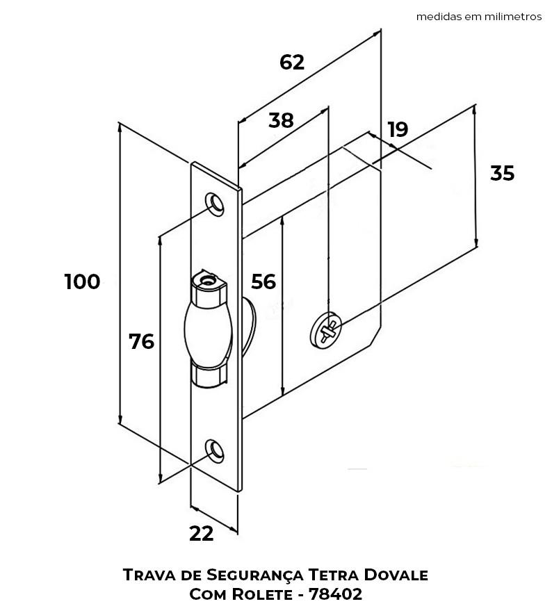 Trava de Segurança Dovale Tetra C/ Rolete - 78402