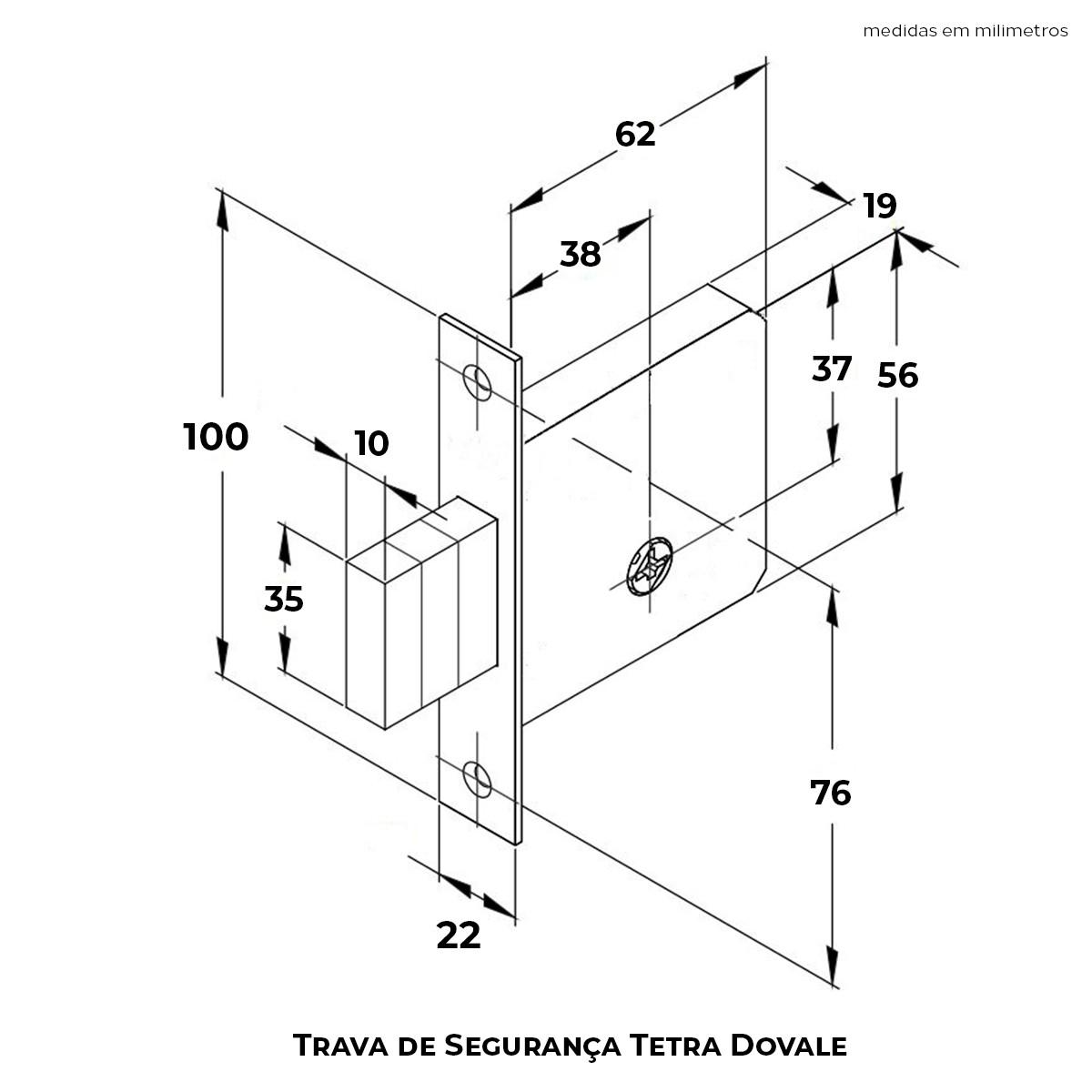 Trava de Segurança Dovale Tetra Cromada Nacional Cilindro e Chave Zamac - 78400