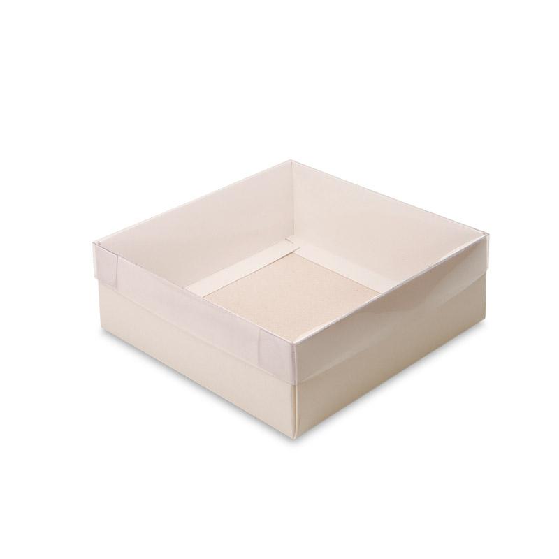 Caixa em Papel Branco com Tampa em Acetato Transparente (P)
