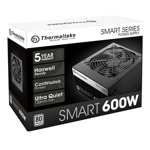 Fonte ATX Thermaltake 600W Smart Series 80 Plus PFC Ativo SPD-0600P PS-SPD-0600NPCWBZ-W  - TNTinfo Loja